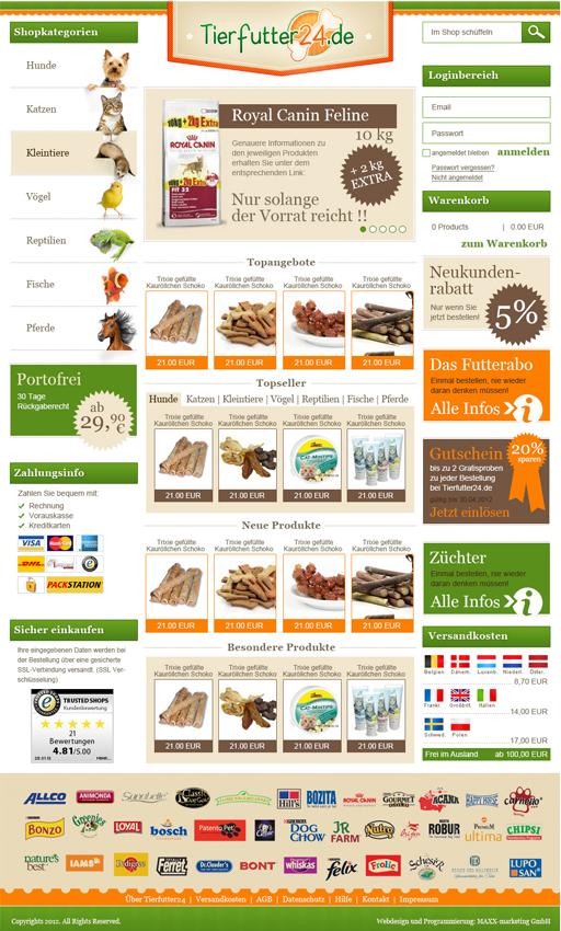 Webdesign Tierfutter