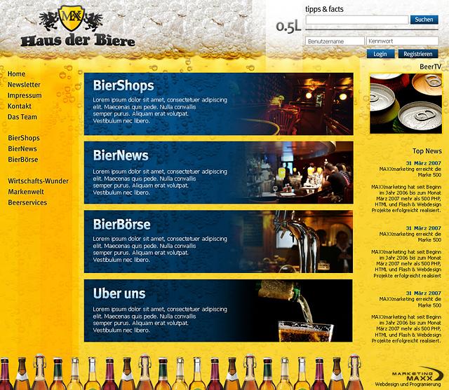 Webdesign einer Brauerei mit angeschlossener Gaststätte