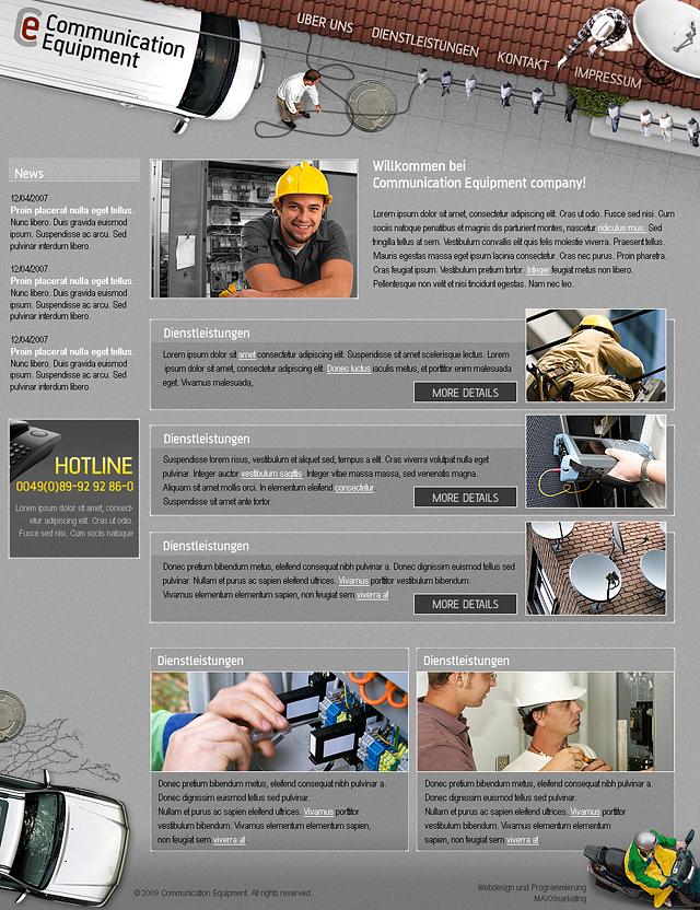 Webdesign der Startseite