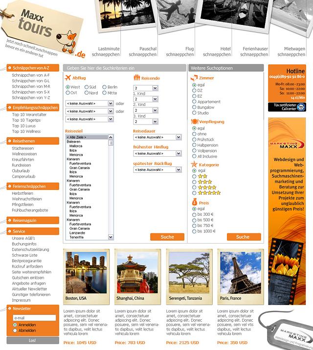 Redesign für ein Internet Reisportal.